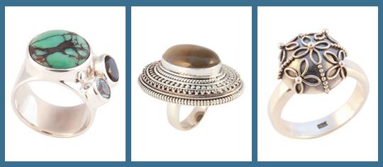 Zilveren ringen met edelstenen