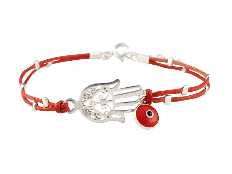 Rode armband met zilveren Hamsa handje en het boze oog
