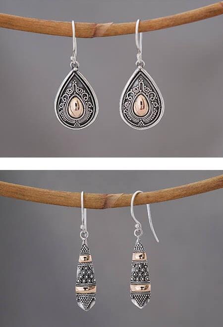 Geweldige zilveren oorbellen met gouden accenten uit Bali