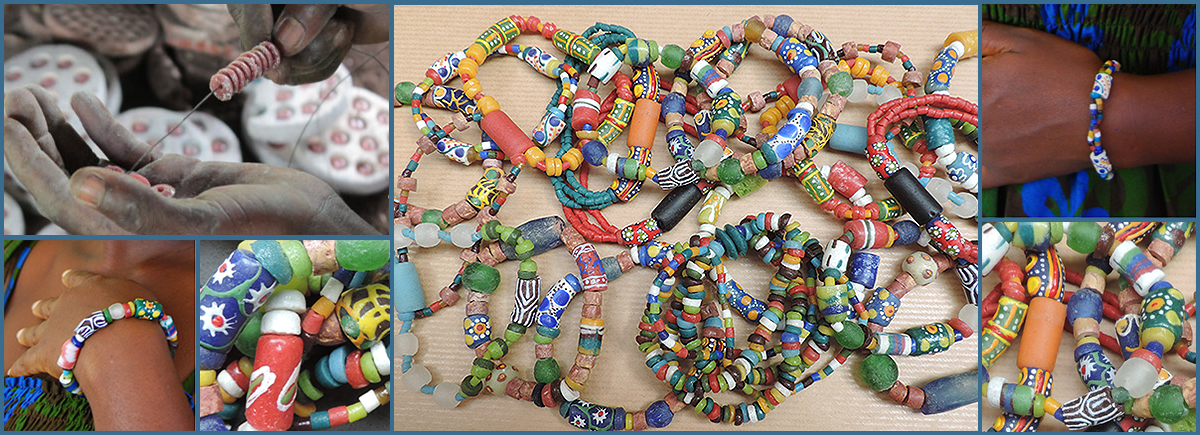 Kleurrijke kralen sieraden online uit Ghana