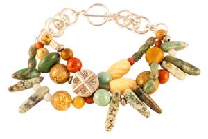 Zilveren armband uit Mexico met verschillende edelstenen
