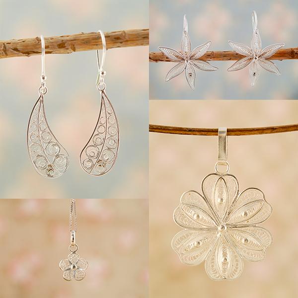 Zilveren filigrain sieraden